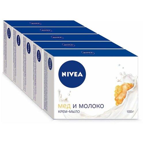 Фото - Крем-мыло кусковое Nivea Мед и молоко, 100 г, 5 шт. мыло кусковое nivea свежесть морских минералов 90 г 5 шт