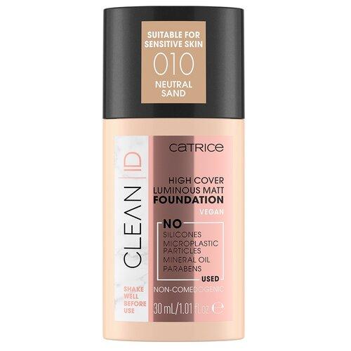 CATRICE Тональный крем Clean id high cover luminous matt foundation, 30 мл, оттенок: 010 Neutral Sand