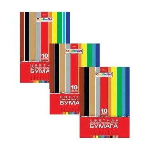 Купить Цветная бумага самоклеящаяся Creative Set Hatber, A4, 10 л., 10 цв. 3 наборов в уп., Цветная бумага и картон
