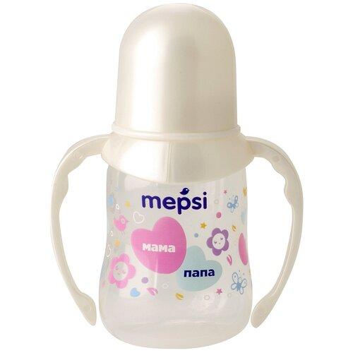 Бутылочка для кормления с ручками с силиконовой соской Mepsi, 125 мл, 4+ мес.