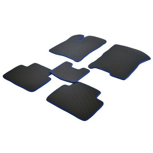 Коврики ЕВА на Ford Focus III 2011 - наст. время (крепления клепки) ViceCar (синяя окантовка)