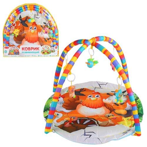 Детский коврик развивающий для малышей Smart Baby с подвесками-погремушками, коврик для ползания детский, коврик для детей, игровой коврик детский, коврик для малышей, коврик для ребенка, коврик для детей игровой, мягкий, размер 82 х 64 см, домашние птицы