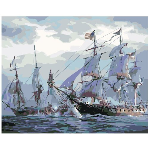 Морское сражение Раскраска по номерам на холсте Живопись по номерам KTMK-49875 40х50 дальние странствия раскраска по номерам на холсте живопись по номерам ktmk 96447 40х50