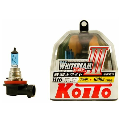 Лампа галогенная Koito Whitebeam H16 12V 19W 4000K, 2 шт. (блистер)