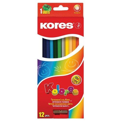 Купить Карандаши цветные 12цв 6-гран, точилка Kores 96312.01, Цветные карандаши