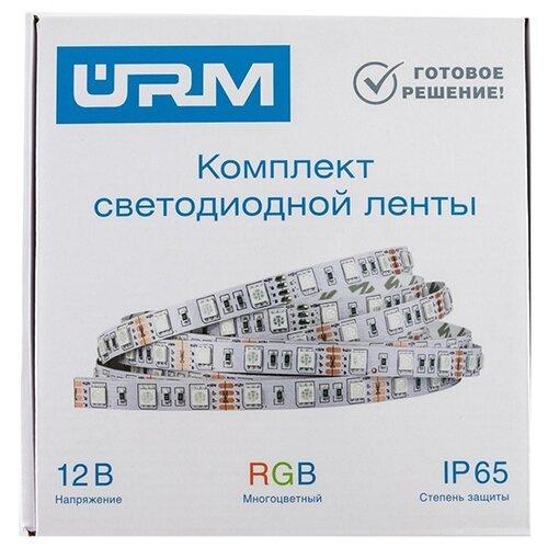 Светодиодная лента URM SMD 5050 30 LED 12V 7.2W 420lm IP65 R светодиодная лента urm smd 5050 60 led 12v 14 4w 10 12lm 3000k ip65 3m warm white n01018