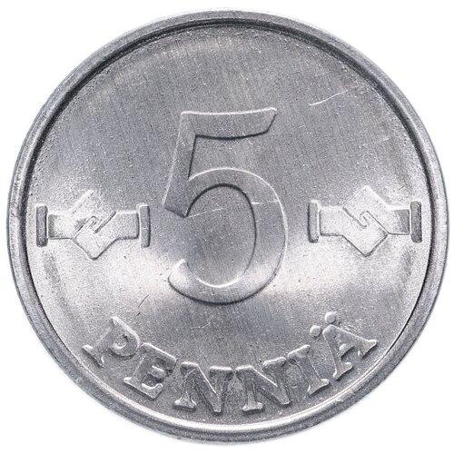 Монета Банк Финляндии 5 пенни 1977 года