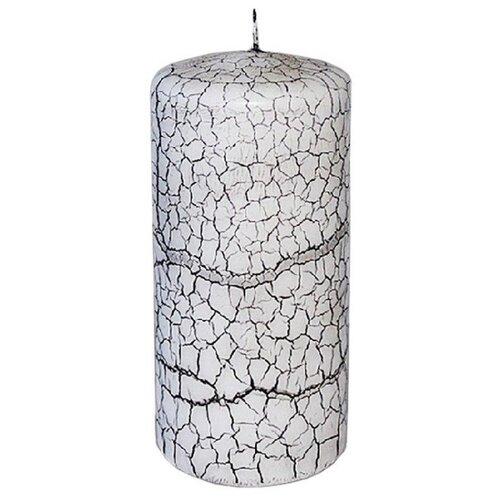 Дизайнерская свеча столбик КРАКЛЕ, чёрно-белая, 6.5х12.5 см, Омский Свечной 2242-свеча