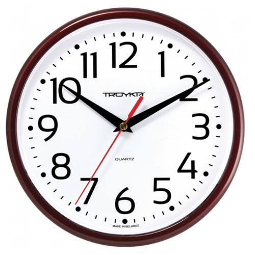 Часы настенные кварцевые Тройка 91931912 коричневый.