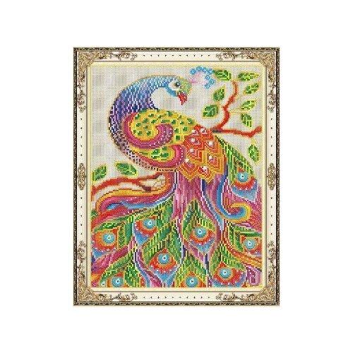 Купить Набор для творчества Рыжий кот Алмазная мозаика Райская птица, с подрамником с полным заполнением, с камнями разных форм 40х50 см