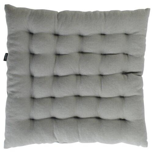 Подушка на стул стеганая из умягченного льна серого цвета, 40х40 см