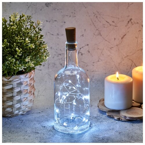 Фото - Светодиодная гирлянда Роса NEON-NIGHT с пробкой для бутылки белого свечения, 2 м светодиодная уличная гирлянда бахрома neon night синего свечения 2 4х0 6 м 76 led