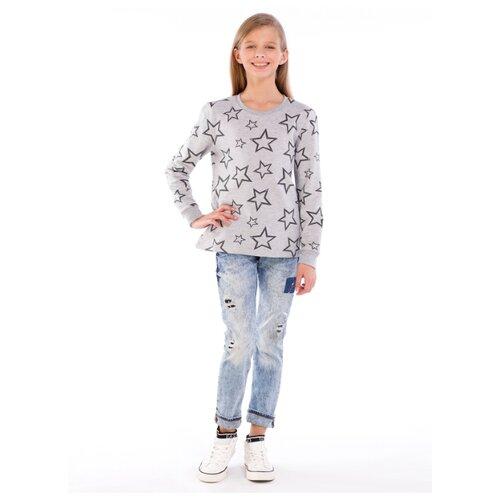 Джемпер детский, набивное полотно-звезды, цвет серый меланж, размер 128