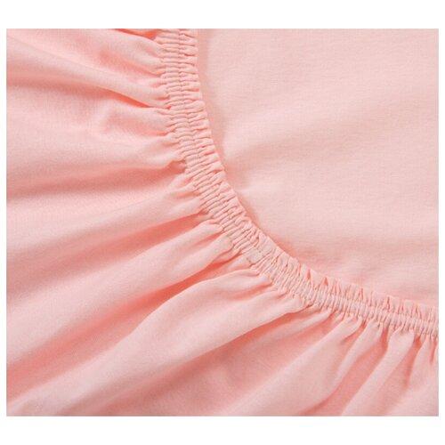 Простыня трикотажная на резинке, Ricotio, 180х200х20см, розовый