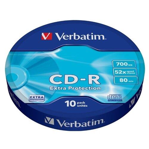 Фото - Диск CD-R Verbatim 700Mb 52x Extra Protection 10 шт. bulk оптический диск cd r verbatim 700mb 52x cake box 10шт 43437