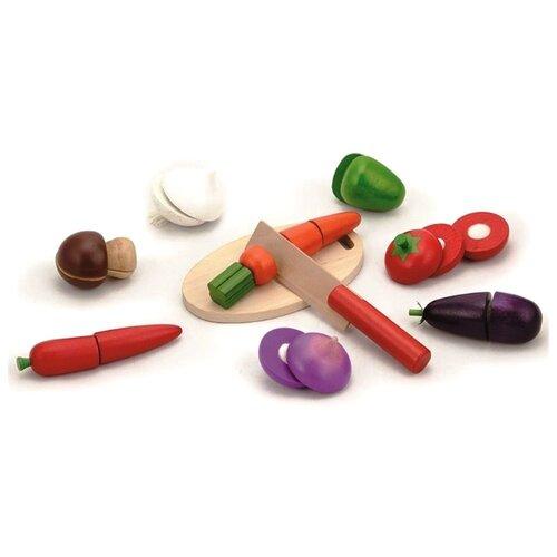 Купить Набор продуктов с посудой Viga Режем овощи 56291 разноцветный, Игрушечная еда и посуда