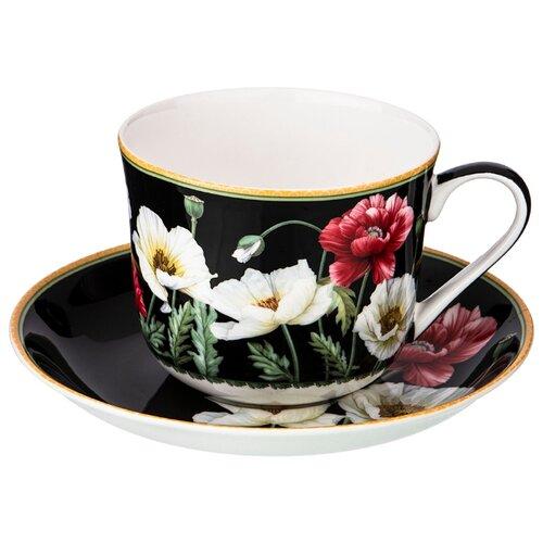 Фото - Набор чайный Lefard Маки на 1 персону, 2 предмета 500 мл черный (104-607) сервиз чайный из фарфора звездная ночь 2 предмета 104 649 lefard