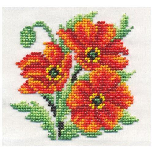 Klart Набор для вышивания бисером Алые маки 13 x 13 см (8-120)