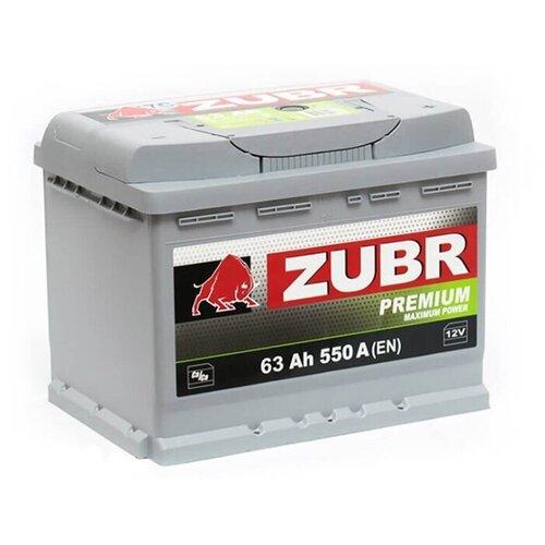 ZUBR Аккумуляторная батарея автомобильная Premium 63 A/h прямая полярность