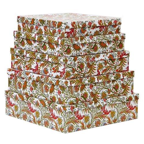 Набор подарочных коробок Мишель Фокс Узоры с птицей №14, 5 шт. разноцветный по цене 1 236
