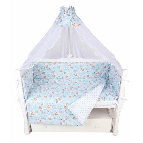 Купить Комплект в кроватку 7 предметов (6+4 подушки-бортика на молнии) AmaroBaby Маленький принц (поплин), Постельное белье и комплекты