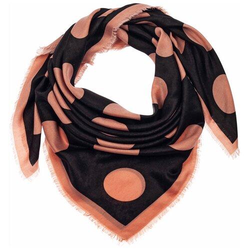 Шелковый платок на шею/Платок шелковый на голову/женский/Шейный шелковый платок/стильный/модный /21kdg1090-5vr черный,розовый/Vittorio Richi/70% модал,15% шерсть,15% шелк/90x90