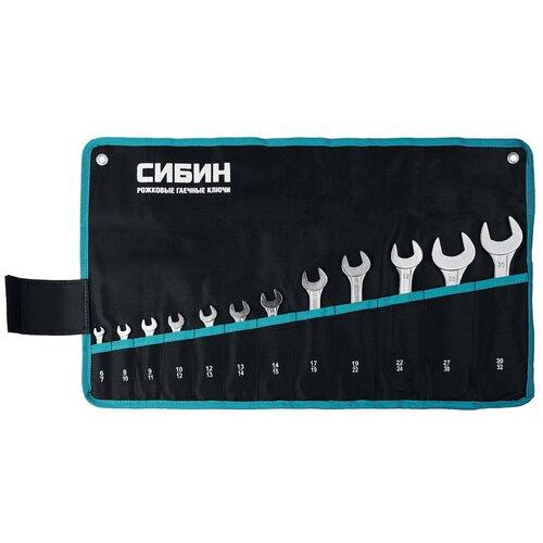 Фото - Набор рожковых гаечных ключей 12 шт, 6 - 32 мм, СИБИН 27013-H12 набор ключей гаечных рожковых углеродистая сталь 12 предметов