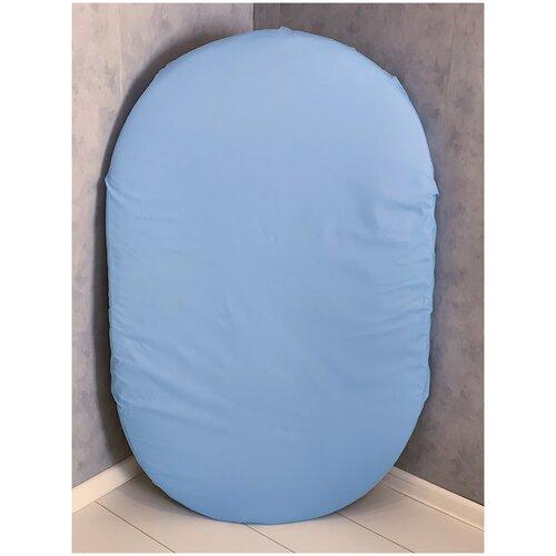 Фото - СОНиКА Простыня на резинке на овальный матрас (поплин) 125 x 75 см голубой простыня на резинке 140х200 см поплин браво м507 12 04