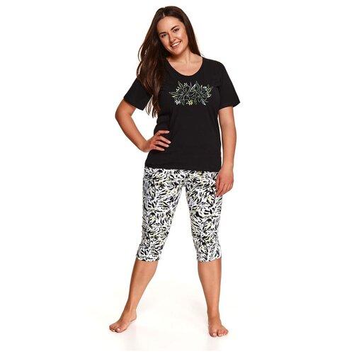 Фото - Taro Оригинальная пижама Daria с принтованными бриджами, черный с белым, XXXL taro мужская хлопковая пижама roman с клетчатым рисунком бордовый xxxl