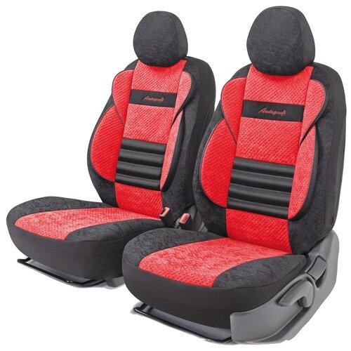 Получехлы на передние сиденья AUTOPROFI CMB-0405 BK/RD COMFORT COMBO, велюр, 5 мм поролон, 3D крой, поясничный упор, 4 пред., чёрный/красный