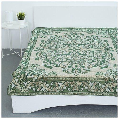 Покрывало гобеленовое на кровать и диван, Вселенная Текстиля, пл.400, Канделябры зеленый 147х210 см