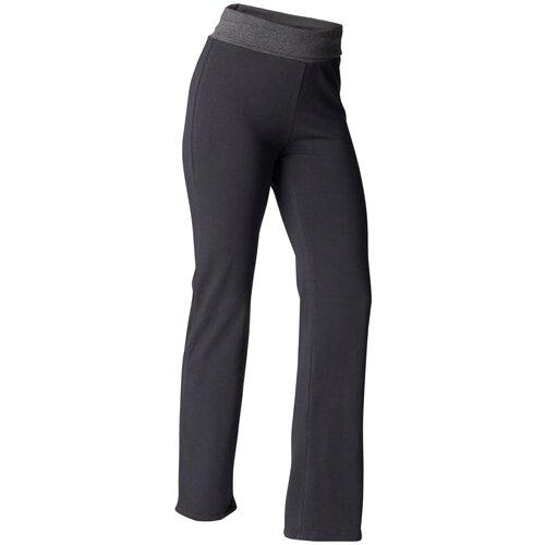 брюки женские converse star chevron emb signature p цвет серый 10008821035 размер m 46 Брюки для мягкой йоги женские из биохлопка, размер: M / W30 L31, цвет: Черный/Темно-Серый KIMJALY Х Декатлон