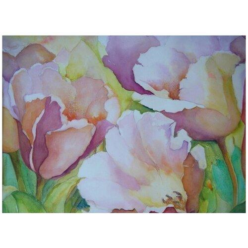 Купить Алмазная вышивка Яркие Грани Тюльпаны , размер 38х50см (151х200 кристаллов), 54 цвета