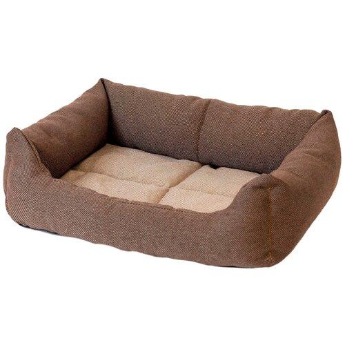 Лежак для собак и кошек Дарэлл Манеж-рогожка № 3 прямоугольный пухлый коричневый 65 х 49 х 16 см (1 шт) недорого
