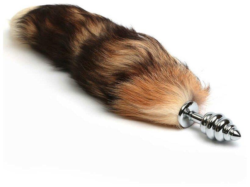 Купить 4SexDream Анальная рельефная пробка с хвостом Королевская Лиса 41 см., серебристый/коричневый по низкой цене с доставкой из Яндекс.Маркета