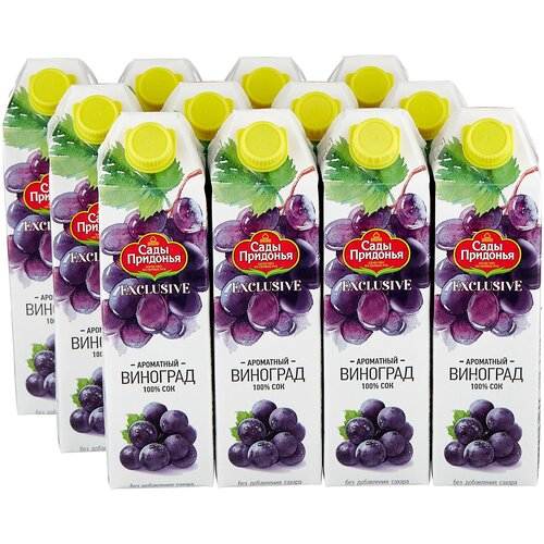 Фото - Сок Сады Придонья Exclusive Виноград, без сахара, 1 л, 12 шт. сок сады придонья яблоко виноград осветленный 500 мл