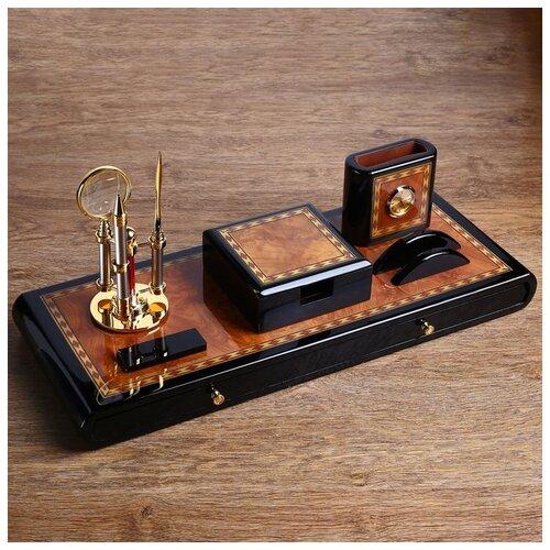 Набор настольный 7в1 (блок д/бумаг,часы с подстав,визитница, лого,нож-лупа-ручка) 20х49х22 см 186779