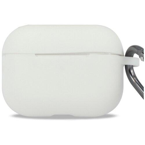 Чехол для наушников Apple AirPods Pro с карабином / Чехол на кейс Эпл ЭирПодс Про с поддержкой беспроводной зарядки / Силиконовый чехол для беспроводных блютуз наушников (White)