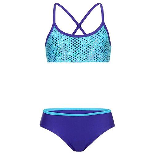 Купить Купальник двухпредметный для девочек, ALIERA, К 21.30, размер 134-140, синий, Белье и купальники