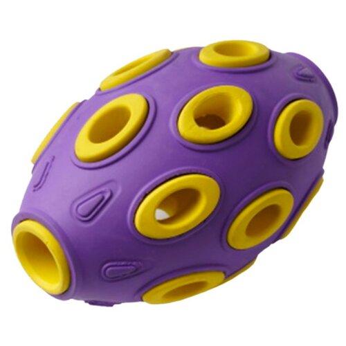 Игрушка для собак Homepet Silver Series мяч регби каучук фиолетово-желтый 7,6 х 12 см (1 шт)