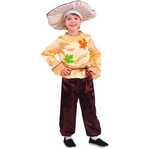 Купить Костюм пуговка Белый гриб (2067 к-19), бежевый/коричневый, размер 122, Карнавальные костюмы