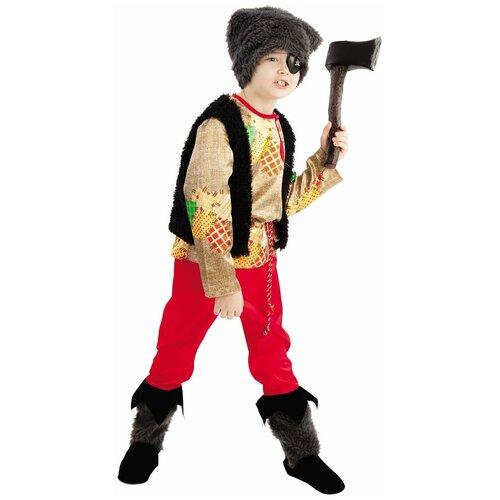Купить Костюм пуговка Разбойник (1018 к-18), красный/черный, размер 140, Карнавальные костюмы