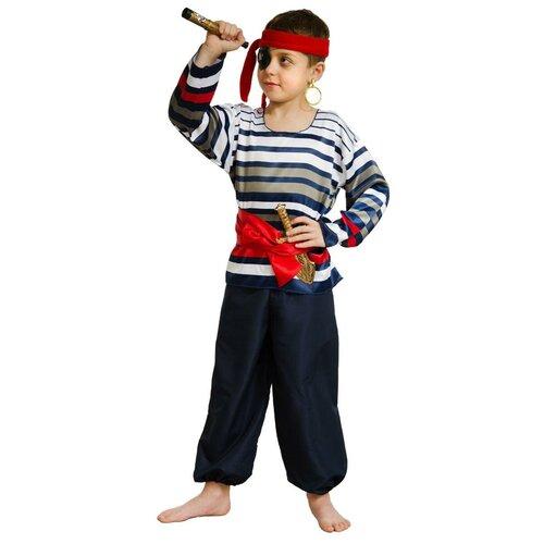 Костюм Маскарад у Алисы Морской разбойник, синий/белый/красный, размер 32(128) костюм маскарад у алисы восточный принц коричневый размер 32 128