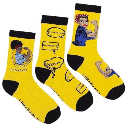 Носки Lunarable Women Power, 3 пары, размер 35-39, желтый/черный