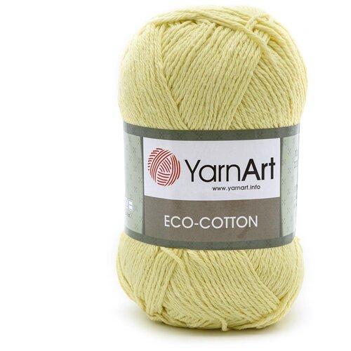 Купить Пряжа YarnArt 'Eco Cotton' 100гр 220м (85% хлопок, 15% полиэстер) (778 лимонный), 5 мотков