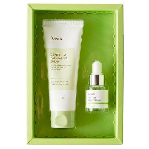 IUNIK Centella Edition Skincare Set Набор для лица (Успокаивающий гель-крем для кожи лица с центеллой азиатской и чайным деревом + Cыворотка для лица с экстрактом чайного дерева)