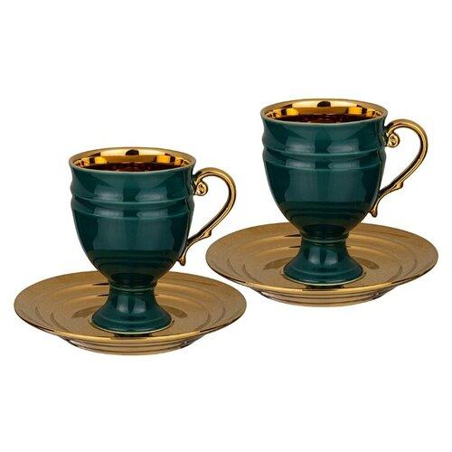 Lefard Набор чайных пар 91-105 4 предмета, 250 мл зеленый/золотистый lsa набор кофейных пар fir metallic 4 предмета 100 мл белый золотистый