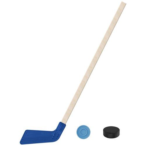 Набор зимний: Клюшка хоккейная синяя 80 см.+шайба + Шайба хоккейная детская 60 мм., Задира-плюс