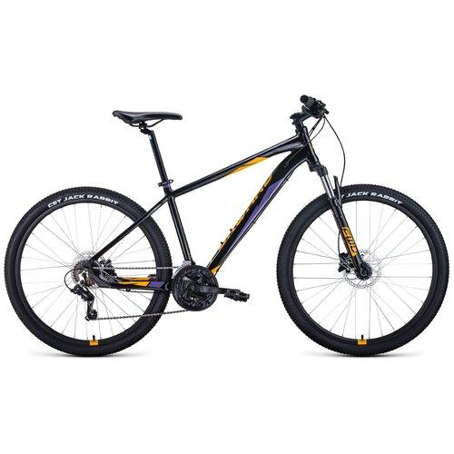 Горный (MTB) велосипед FORWARD Apache 27.5 3.0 Disc (2021) черный/оранжевый 19 (требует финальной сборки) горный mtb велосипед forward apache 27 5 1 2 s 2021 желтый зеленый 19 требует финальной сборки