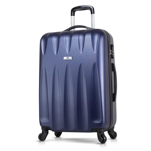 Чемодан пластиковый с колесами DELVENTO Best темно-синий, средний размер